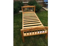 Lovely solid wood junior bed with mattress, vgc