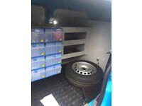 VOLKSWAGEN VW CADDY MAXI VAN RACKING STORAGE WITH LED LIGHTING. EX BRITISH GAS.