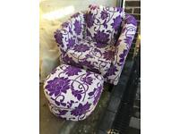 Fabric chair with foot stool, for sale (£35)