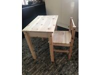 Childrens wooden desk and chair