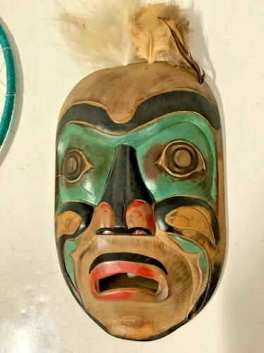 Vintage Pacific NW Coast Native Indian Salish Sea Wood Indigenous Painted Mask
