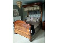 Victorian Mahogany Half Tester Bed ca. 1850. Antique, Double Bed. Four Poster