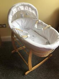 Disney white Moses basket with rocking Clair De Lune stand