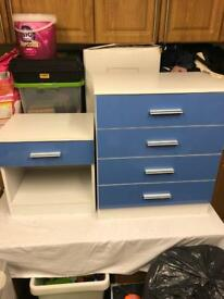 Children's bedside cabinet and chest drawer gloss blue