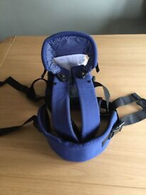 Mothercare baby carrier, navy with white bib. Excellent condition, hardly used