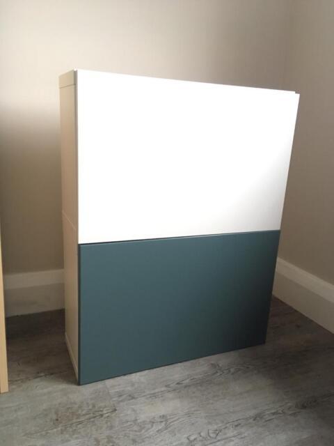 Two Ikea Besta Storage Unites White And Blue Doors In London Gumtree