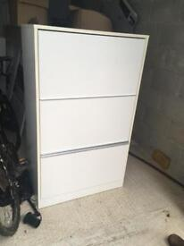 White Matt laquer filing cabinet with two shelves
