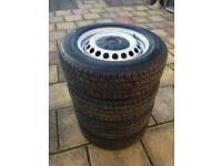 "Vw T5 Transporter 16"" Steel Wheels with Hankook Tyres 205/65/r16c NEW!"