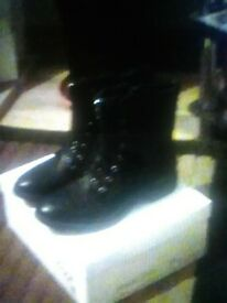 New size 6 black ankle boots with box