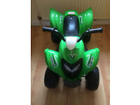 Childs electric quad bike in green and in excellent condition, can be used indoors ans outdoors.