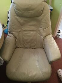 Creamy biege recliner leather chair