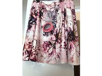 Simply Be, Pink Flowery, Scuba Skirt, Size 32
