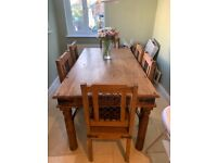 Rustic Solid Oak 6 Seater table and chairs