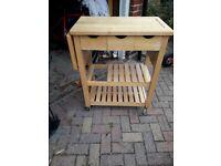 Butcher's trolley beech wood - freestanding kitchen unit
