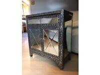 Chaandhi Kar Silver Black Embossed Cabinet Cupboard / Mirrored Furniture - Metal Furniture - Reduced