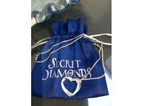 Secret diamonds silver heart necklace