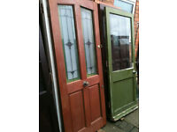 Exterior hardwood door with frosted patterned glass