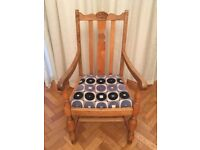 Antique Upholstered Oak Carver Chair Armchair