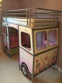 Child's VW Camper Van bed. Desk and storage area underneath upper bunk. Good condition.