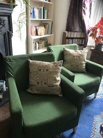 2 comfortable IKEA armchairs