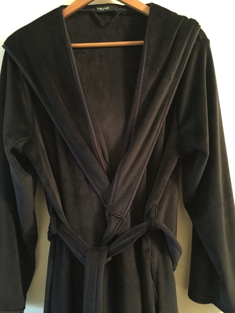 M&S Autograph black hooded dressing gown, cosy & warm, worn just ...