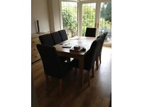 Fishpools solid ash and oiled oak dining table, chairs, sideboard, display etc