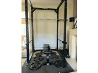 Mirafit M2 350kg Power Rack Squat Rack plus Bench, Weights and Barbell