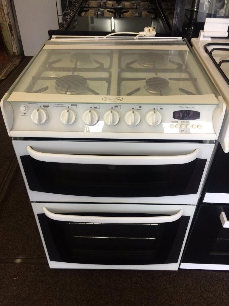 White cannon 60cm gas cooker grill & double ovens good condition with guarantee bargain