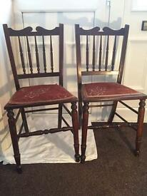 Stunning pair of bedroom chairs with padded embroidered seats