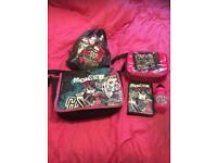 monster high bag, gym bag , lunch bag abd filled pencil case ,