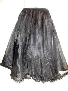 "Retro HALF-SLIP / Black Nylon / 3 layers ruffles / Very full / S M / 30""w 38-40"" hip Vintage Petticoat Lingerie Oakville"