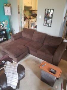 Brown corduroy sectional couch