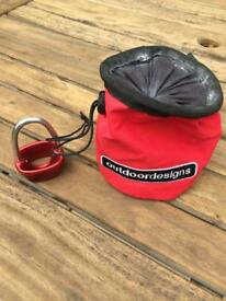 Climbing chalk bag, caribener and belay