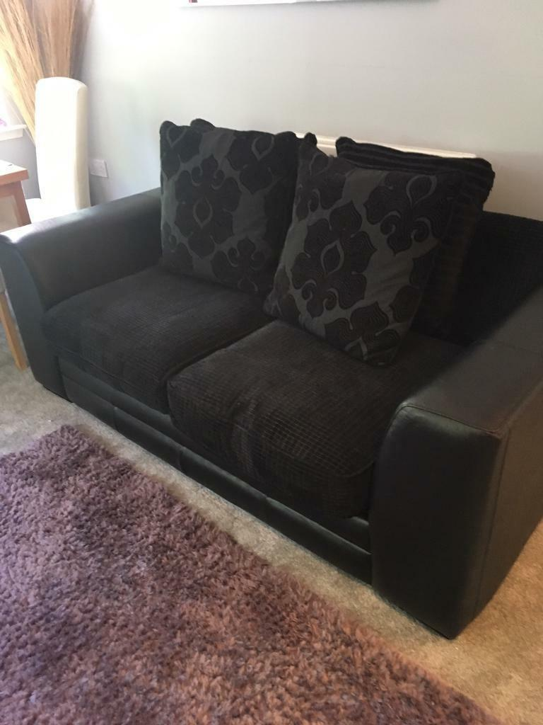 Black Leather And Fabric Sofa Bed Couch Settee With 4