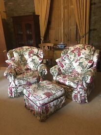 2 Beautiful armchairs with matching footstool/pouffe. Really comfortable with removable covers