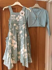 MONSOON JADE DRESS AND SHRUG AGE 4-5 LOVELY OUTFIT