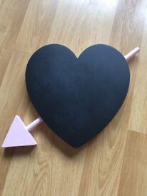 HEART SHAPED CHALK BOARD SIGN