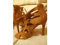 Cream coloured high heel sandals size 3