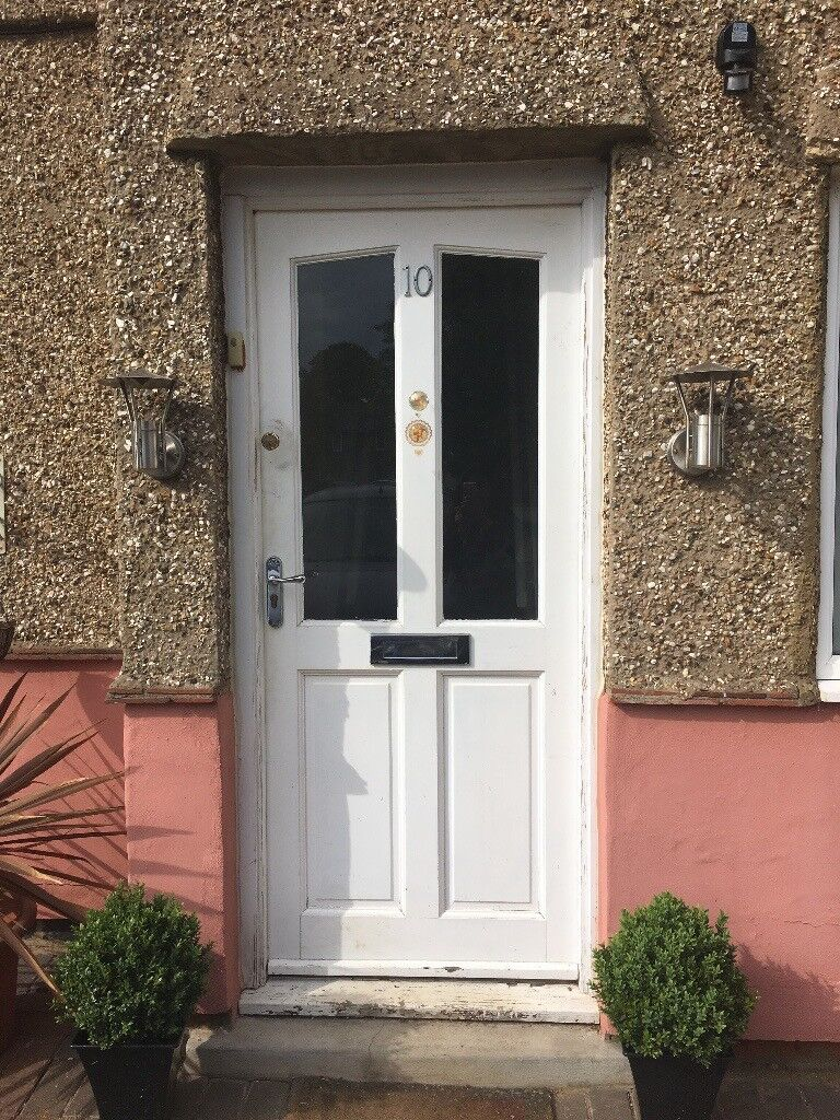 Solid Wood Front Door With Clear Gl Panels