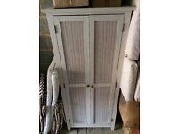 Wardrobe white rattan wooden freestanding