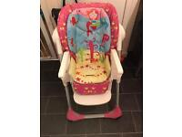 Chicco polly 2 in 1 highchair pink and blue