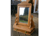Farmhouse Solid Pine Dressing Table Mirror With Drawer Adjustable