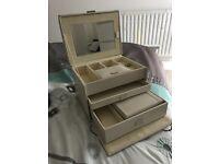 Cream coloured jewellery box/vanity case