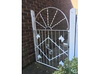 Metal garden gate, painted white, good condition, horse motifs, 89cm width