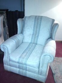 Armchairs x2 cream with light green band in good condition