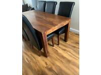 Solid Oak Table & 6 Leather Chairs