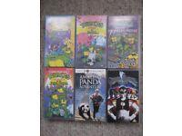 6 children's tapes - Teenage Mutant Hero Turtles, Power Rangers, Panda Adventure