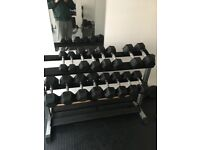 Dumbbells and 3 tiar rack 2.5kg 5kg 7.5kg 10kg 12.5kg 15kg 17.5kg 20kg all x2 like new