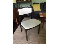 Dark Wood with Cream Upholstery Vintage Retro Dining Chairs (set of 6)