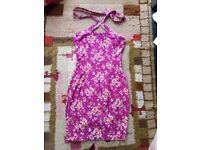 Ladies purple summer dress Red rose flower NEW Hand made Size 8